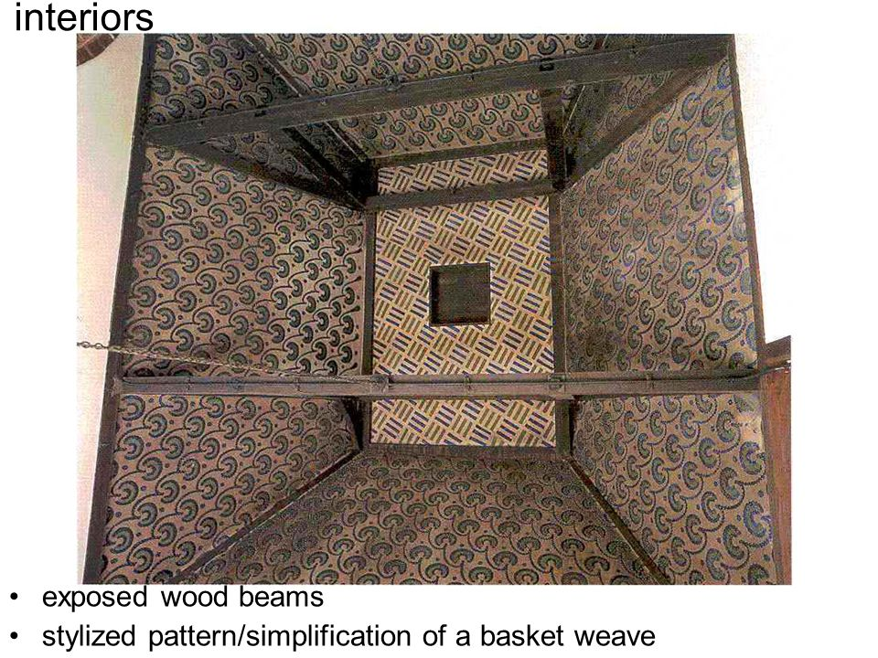 interiors exposed wood beams stylized pattern/simplification of a basket weave