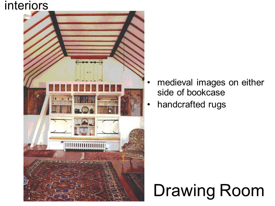 Drawing Room interiors medieval images on either side of bookcase handcrafted rugs