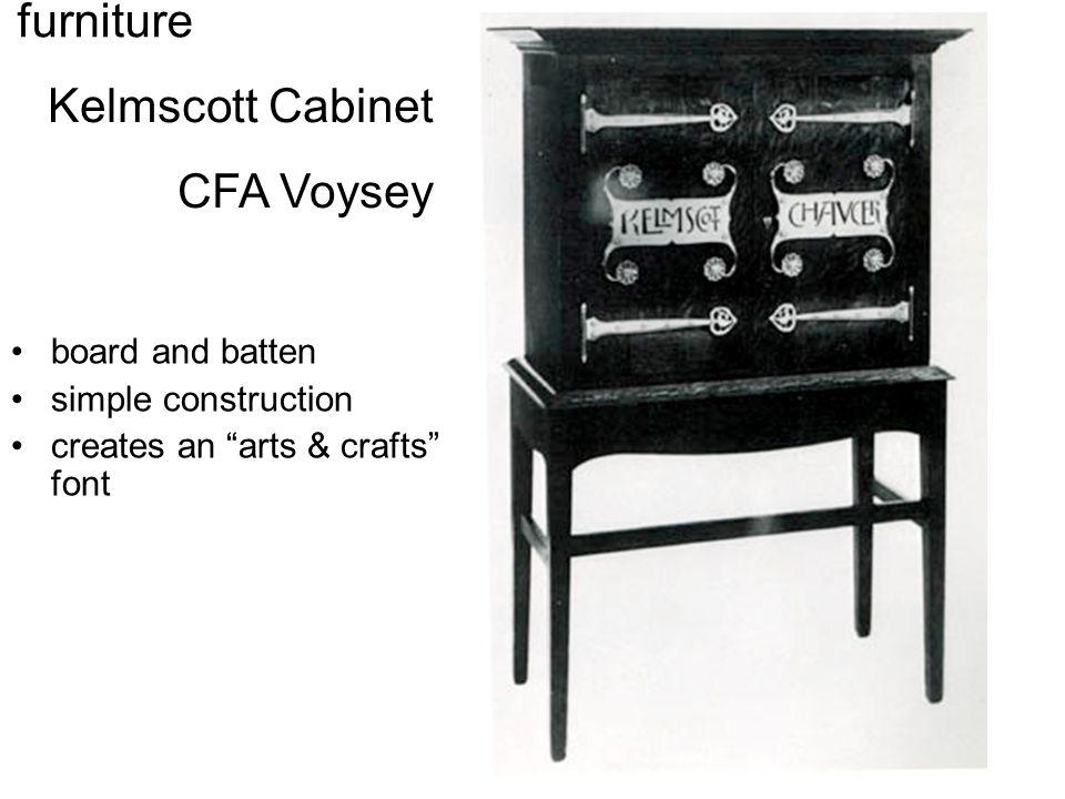 "Kelmscott Cabinet CFA Voysey furniture board and batten simple construction creates an ""arts & crafts"" font"