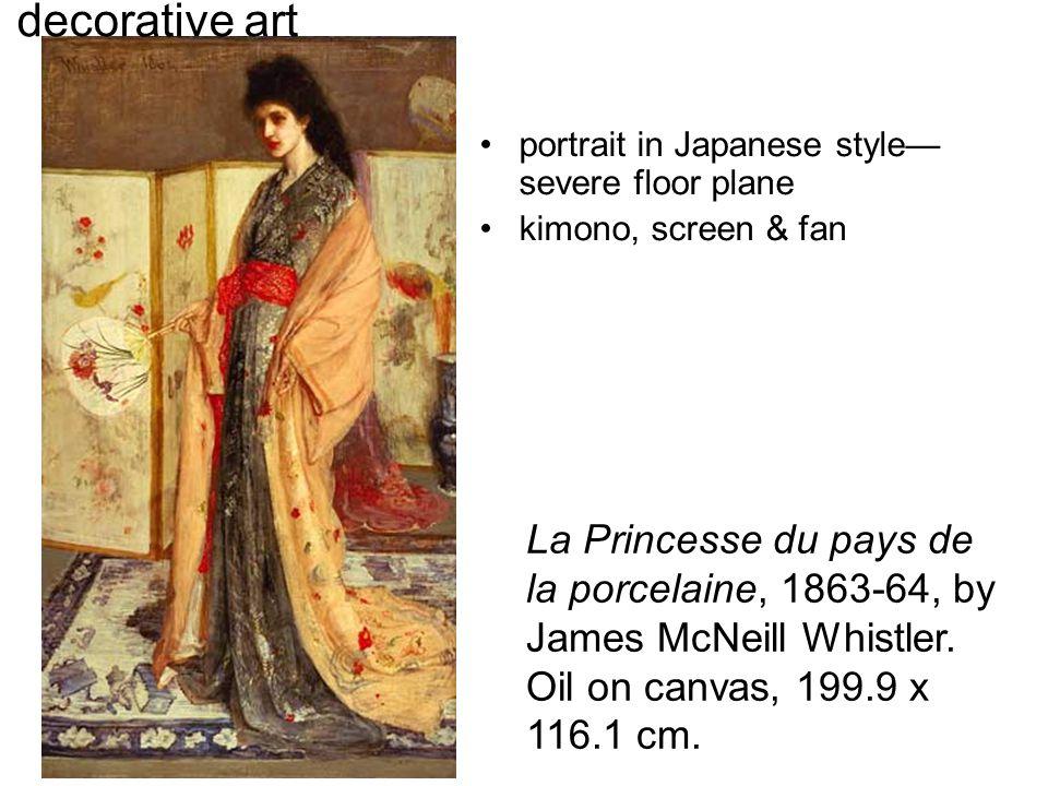 La Princesse du pays de la porcelaine, 1863-64, by James McNeill Whistler. Oil on canvas, 199.9 x 116.1 cm. decorative art portrait in Japanese style—
