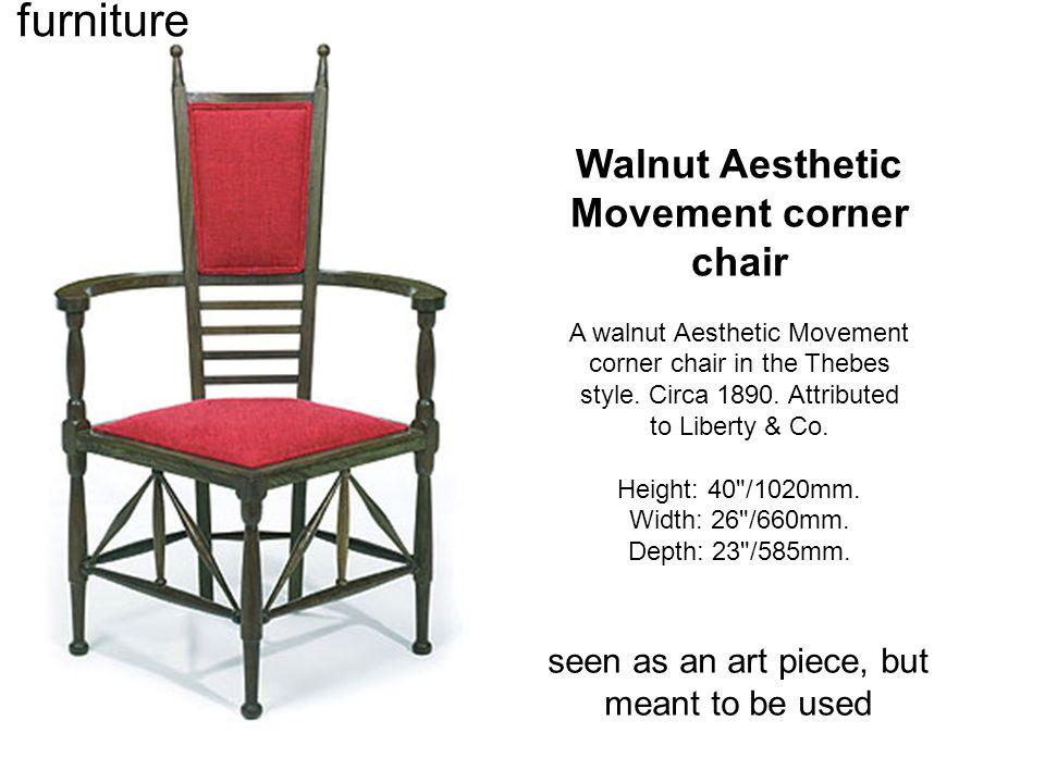 Walnut Aesthetic Movement corner chair A walnut Aesthetic Movement corner chair in the Thebes style.