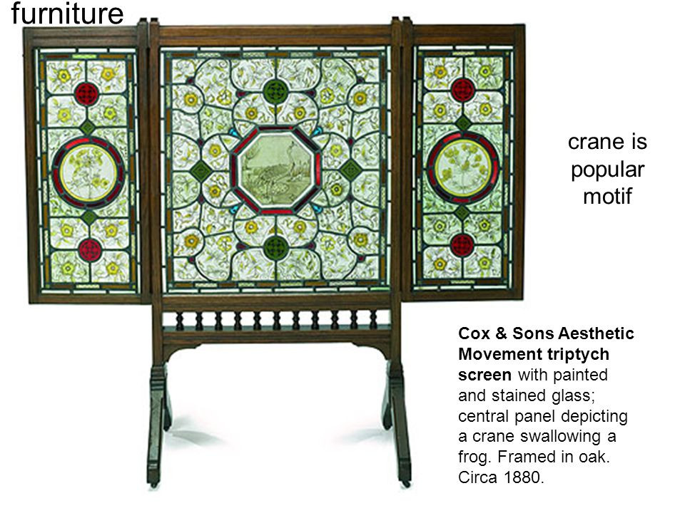 Cox & Sons Aesthetic Movement triptych screen with painted and stained glass; central panel depicting a crane swallowing a frog. Framed in oak. Circa