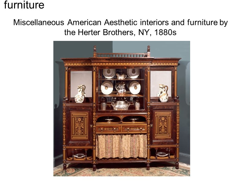 Miscellaneous American Aesthetic interiors and furniture by the Herter Brothers, NY, 1880s furniture