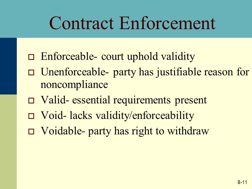 8-11 Contract Enforcement  Enforceable- court uphold validity  Unenforceable- party has justifiable reason for noncompliance  Valid- essential requirements present  Void- lacks validity/enforceability  Voidable- party has right to withdraw