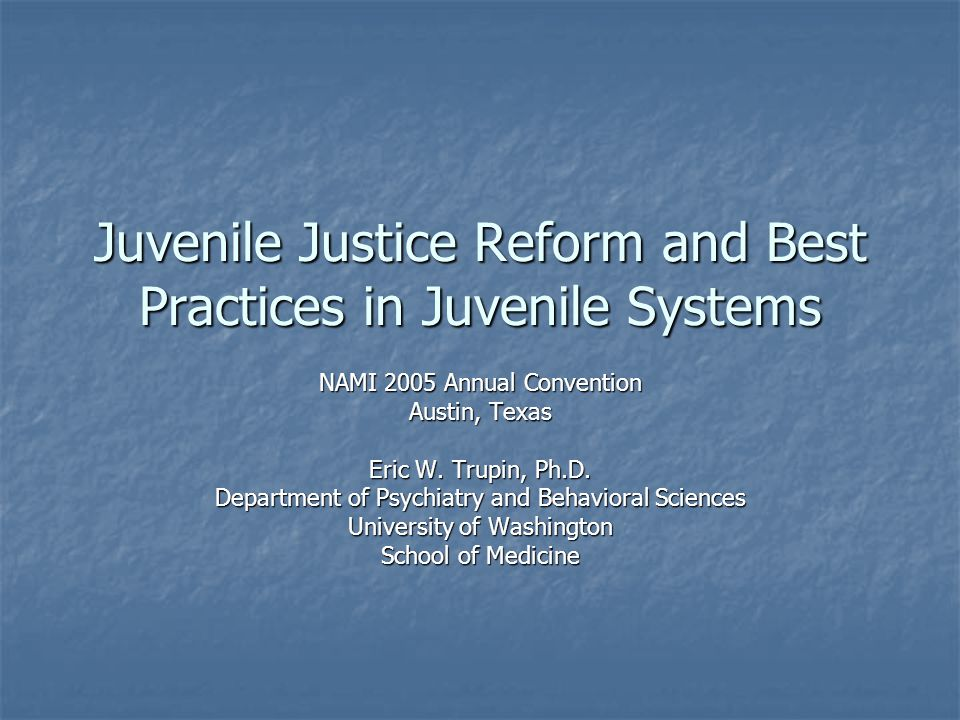 Diversion Programs Designed to minimize negative impacts of incarceration Designed to minimize negative impacts of incarceration Divert youth involved in first-time or minor offenses into treatment, rather than secure facilities Divert youth involved in first-time or minor offenses into treatment, rather than secure facilities Target risk factors for recidivism, such as parent-child conflict and poor problem solving skills Target risk factors for recidivism, such as parent-child conflict and poor problem solving skills Can include assessment, counseling, tutoring, job training, substance abuse treatment, community service, restitution, psychoeducation Can include assessment, counseling, tutoring, job training, substance abuse treatment, community service, restitution, psychoeducation