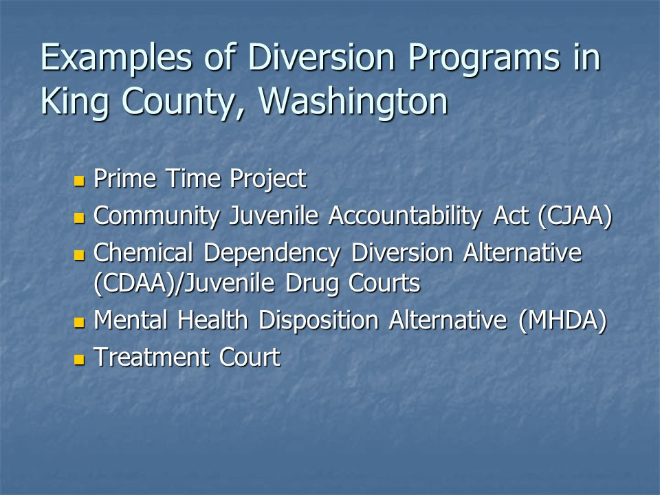 Examples of Diversion Programs in King County, Washington Prime Time Project Prime Time Project Community Juvenile Accountability Act (CJAA) Community