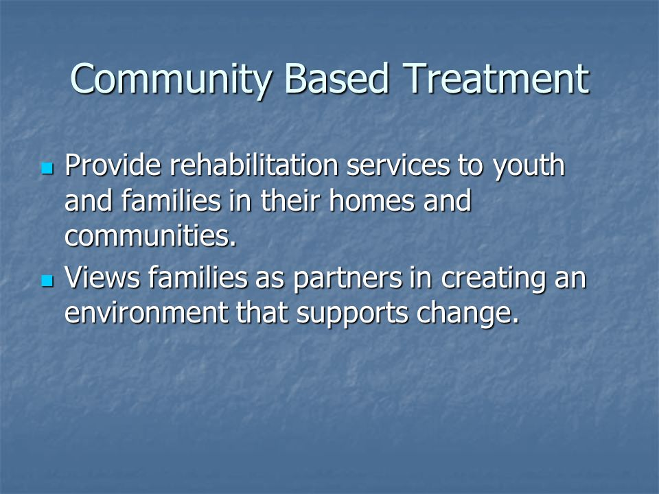 Community Based Treatment Provide rehabilitation services to youth and families in their homes and communities. Provide rehabilitation services to you