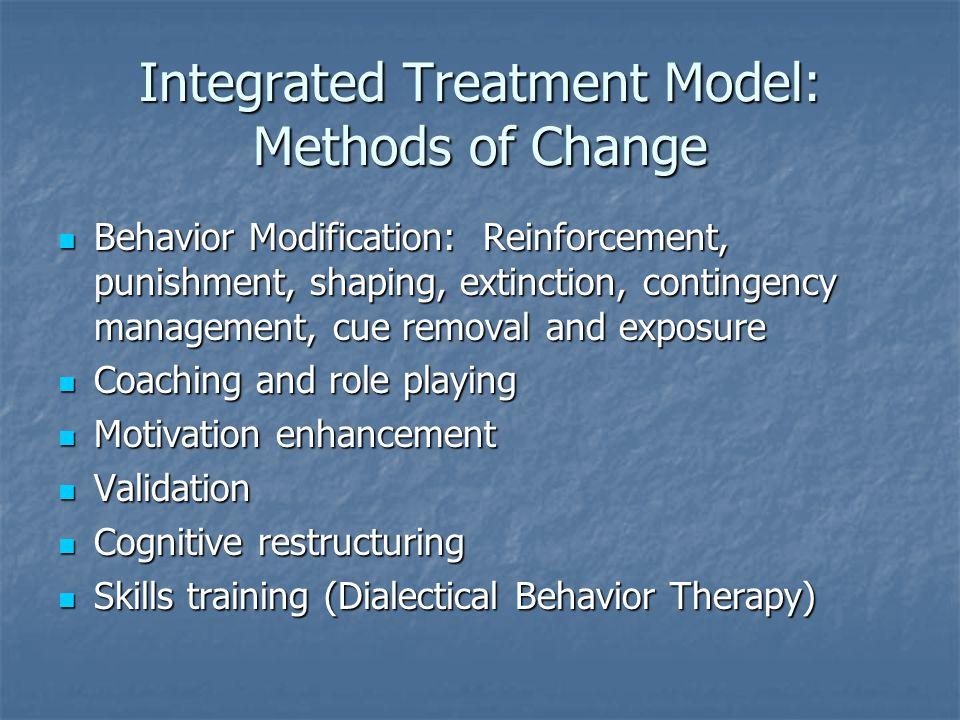 Integrated Treatment Model: Methods of Change Behavior Modification: Reinforcement, punishment, shaping, extinction, contingency management, cue remov