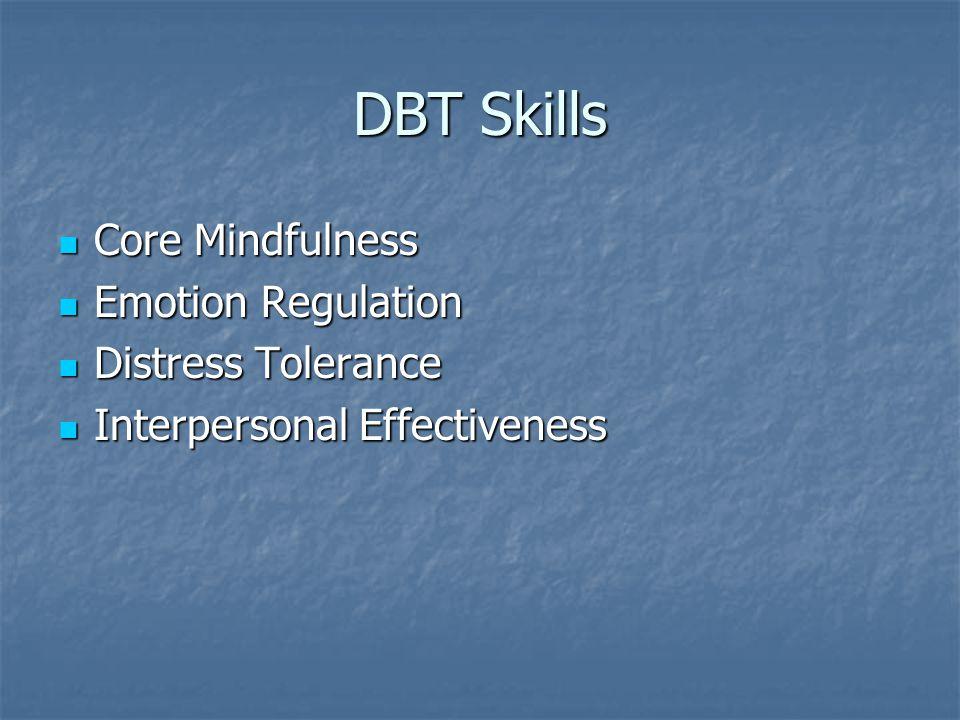 DBT Skills Core Mindfulness Core Mindfulness Emotion Regulation Emotion Regulation Distress Tolerance Distress Tolerance Interpersonal Effectiveness I