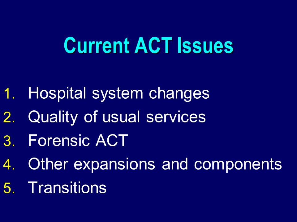 Current ACT Issues 1. Hospital system changes 2. Quality of usual services 3.