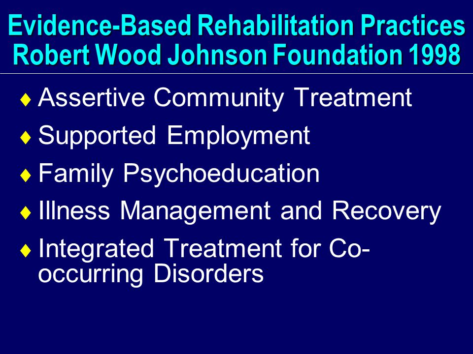 Evidence-Based Rehabilitation Practices Robert Wood Johnson Foundation 1998  Assertive Community Treatment  Supported Employment  Family Psychoeducation  Illness Management and Recovery  Integrated Treatment for Co- occurring Disorders