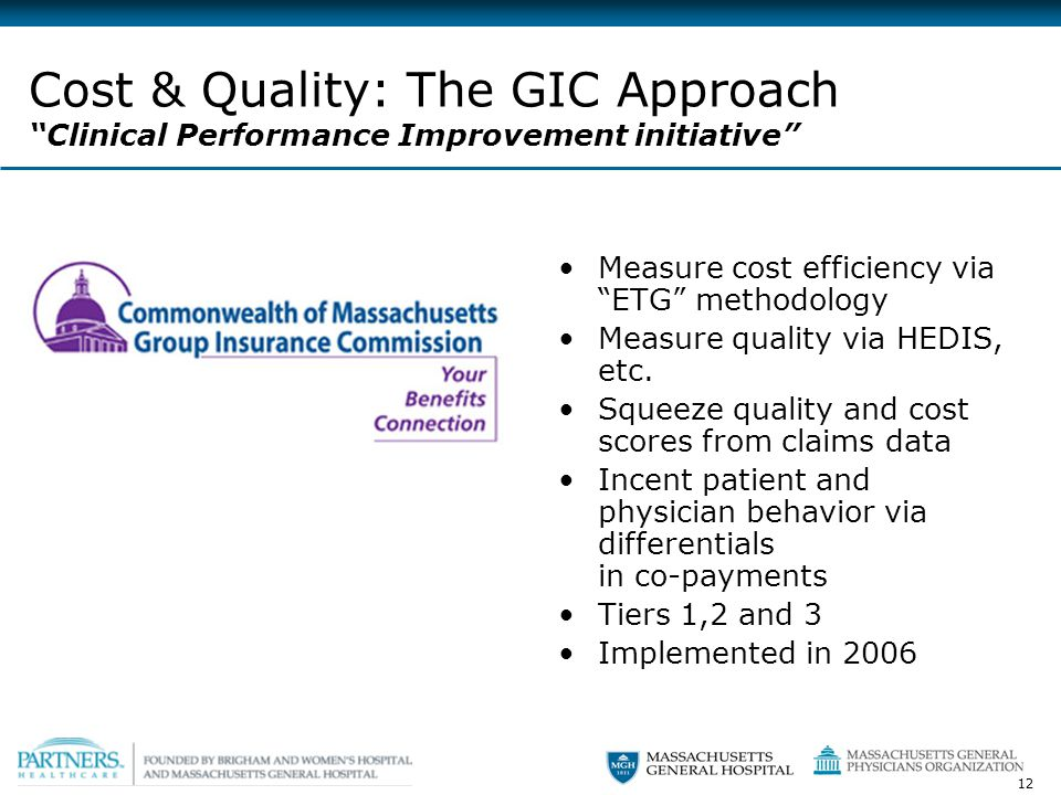 12 Cost & Quality: The GIC Approach Clinical Performance Improvement initiative Measure cost efficiency via ETG methodology Measure quality via HEDIS, etc.