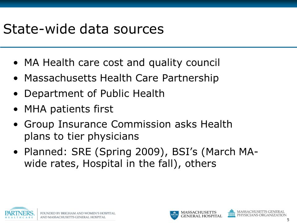 5 State-wide data sources MA Health care cost and quality council Massachusetts Health Care Partnership Department of Public Health MHA patients first Group Insurance Commission asks Health plans to tier physicians Planned: SRE (Spring 2009), BSI's (March MA- wide rates, Hospital in the fall), others
