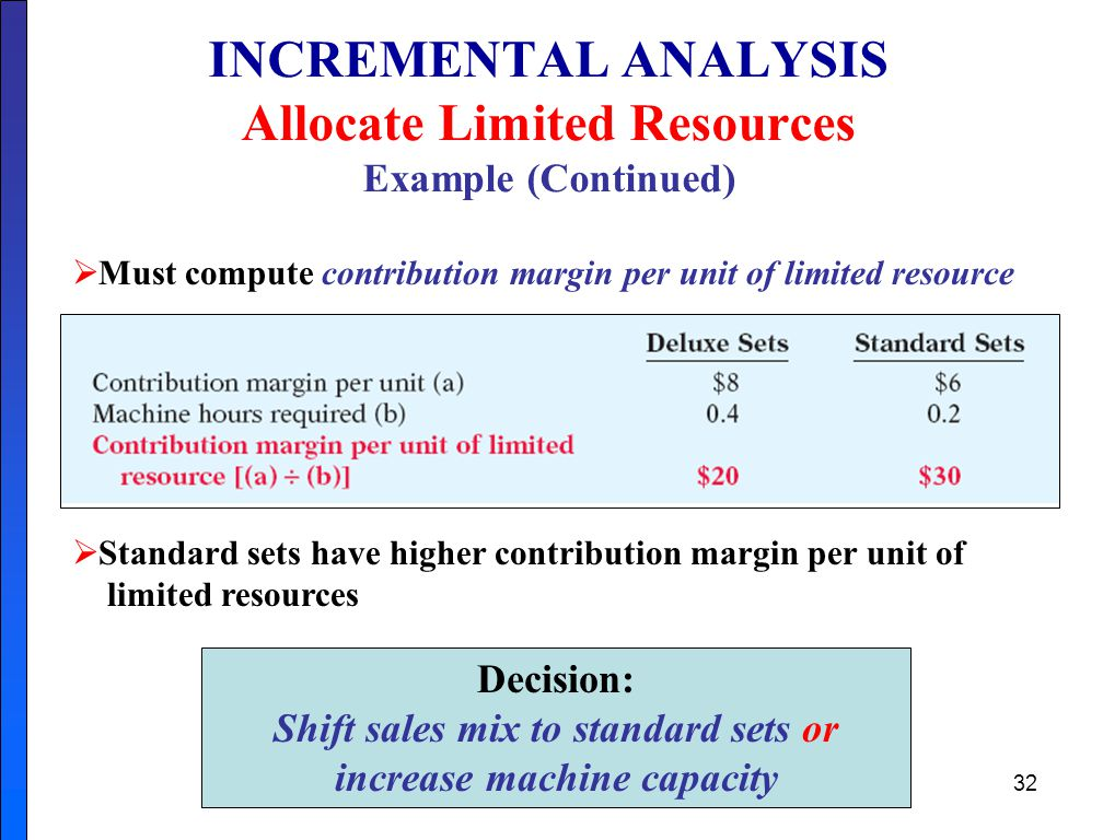32 INCREMENTAL ANALYSIS Allocate Limited Resources Example (Continued)  Must compute contribution margin per unit of limited resource  Standard sets have higher contribution margin per unit of limited resources Decision: Shift sales mix to standard sets or increase machine capacity