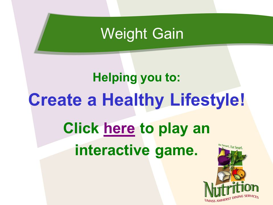 Weight Gain Based on the Body Mass Index Scale, people are at a healthy weight when their BMI is: 18.5 – 25 25 – 29.9 30 or above