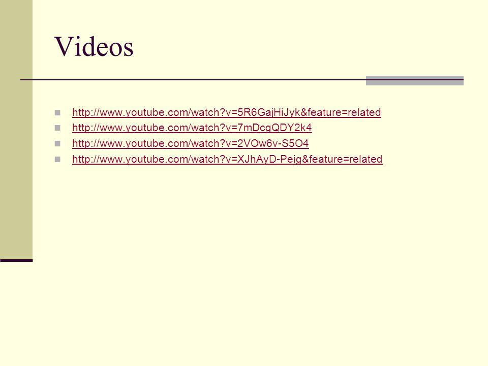 Videos http://www.youtube.com/watch?v=5R6GajHiJyk&feature=related http://www.youtube.com/watch?v=7mDcgQDY2k4 http://www.youtube.com/watch?v=2VOw6v-S5O4 http://www.youtube.com/watch?v=XJhAyD-Peig&feature=related