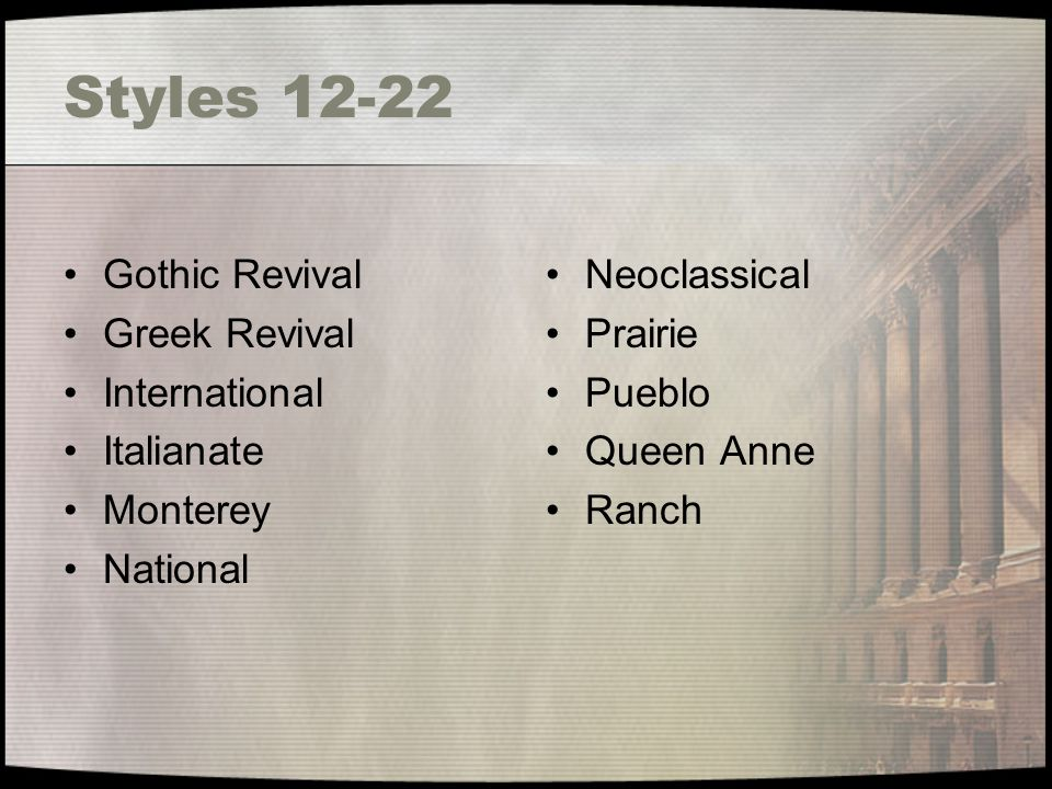 Styles 12-22 Gothic Revival Greek Revival International Italianate Monterey National Neoclassical Prairie Pueblo Queen Anne Ranch
