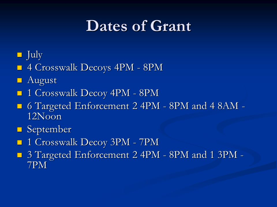 Dates of Grant July July 4 Crosswalk Decoys 4PM - 8PM 4 Crosswalk Decoys 4PM - 8PM August August 1 Crosswalk Decoy 4PM - 8PM 1 Crosswalk Decoy 4PM - 8PM 6 Targeted Enforcement 2 4PM - 8PM and 4 8AM - 12Noon 6 Targeted Enforcement 2 4PM - 8PM and 4 8AM - 12Noon September September 1 Crosswalk Decoy 3PM - 7PM 1 Crosswalk Decoy 3PM - 7PM 3 Targeted Enforcement 2 4PM - 8PM and 1 3PM - 7PM 3 Targeted Enforcement 2 4PM - 8PM and 1 3PM - 7PM