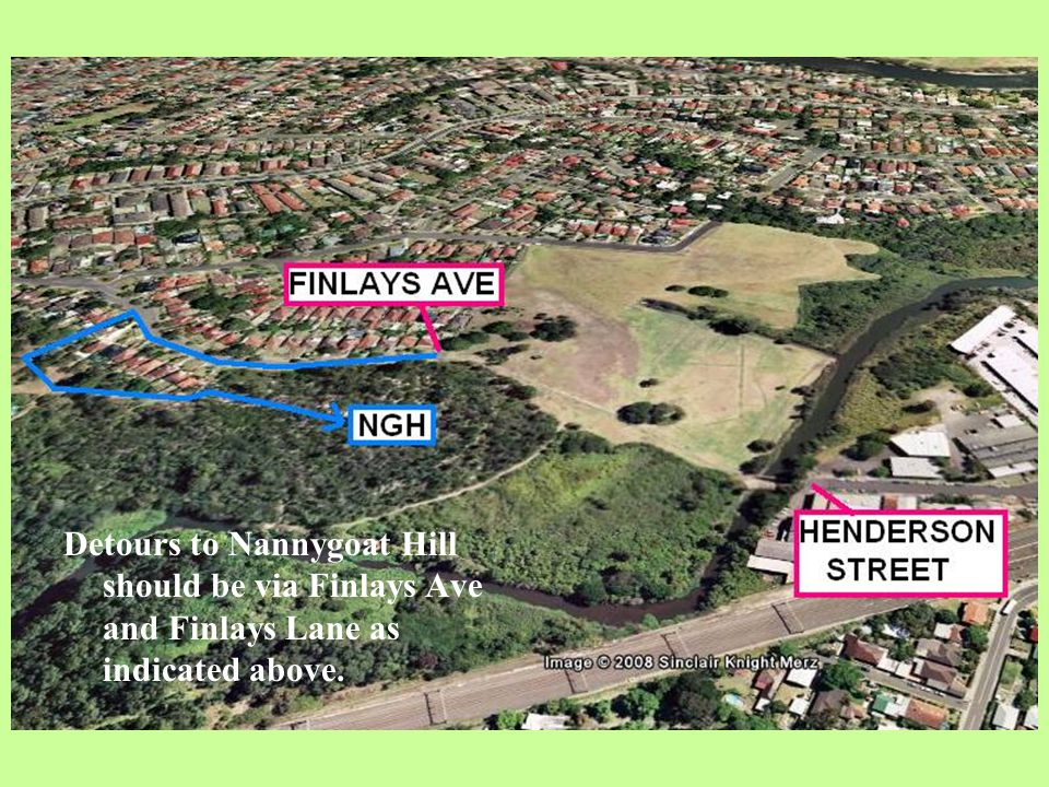 NGH Detours to Nannygoat Hill should be via Finlays Ave and Finlays Lane as indicated above.