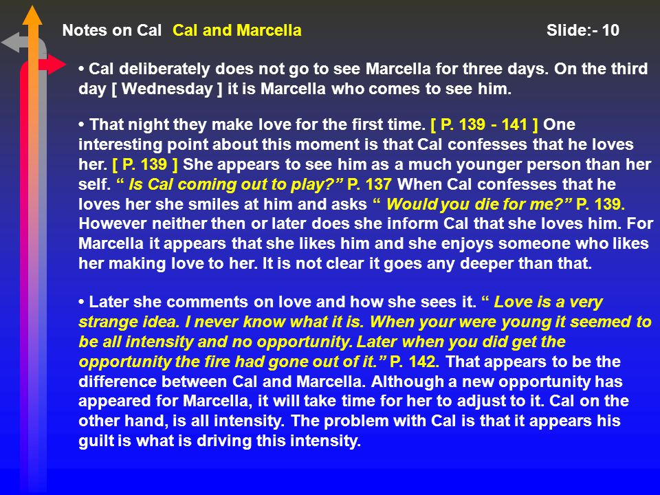 Notes on Cal Slide:- 10 Cal deliberately does not go to see Marcella for three days.