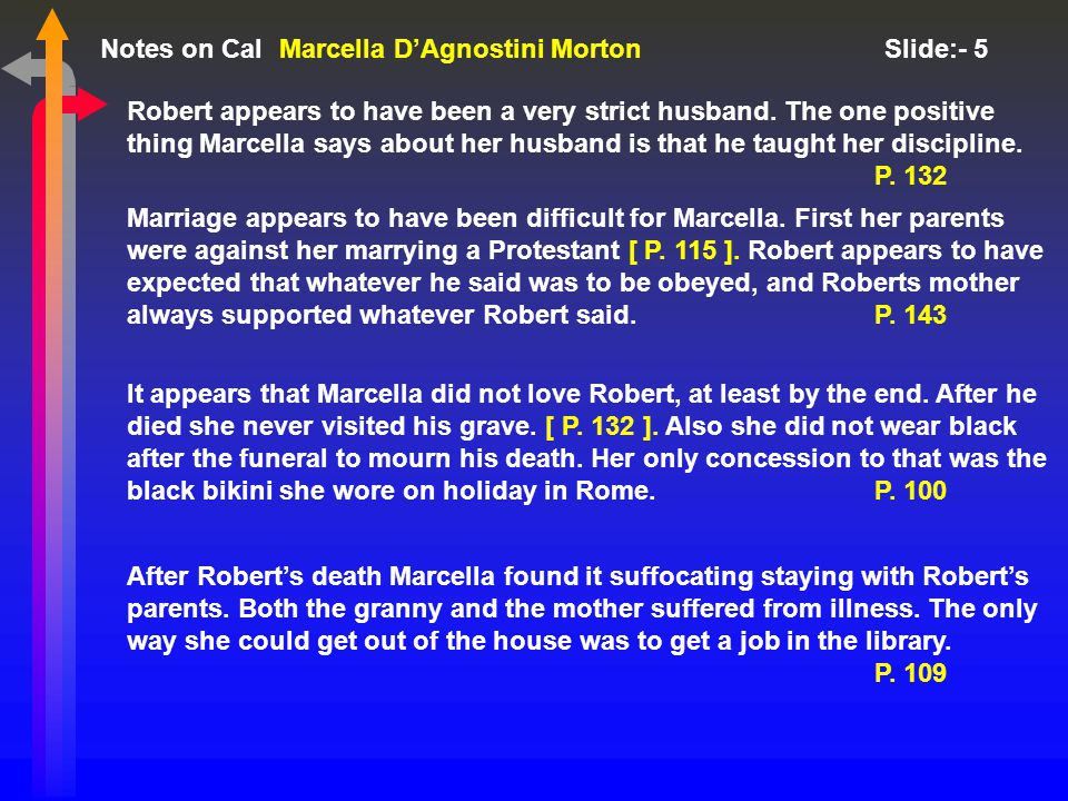 Notes on Cal Slide:- 5 Marcella D'Agnostini Morton Robert appears to have been a very strict husband.