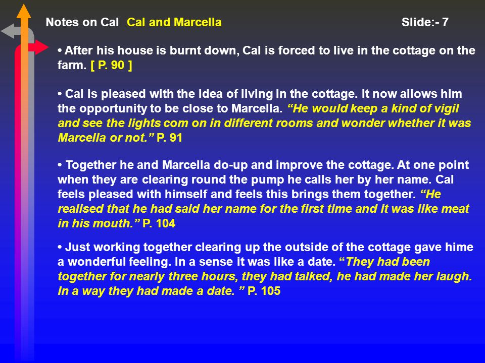 Notes on Cal Slide:- 7 After his house is burnt down, Cal is forced to live in the cottage on the farm.
