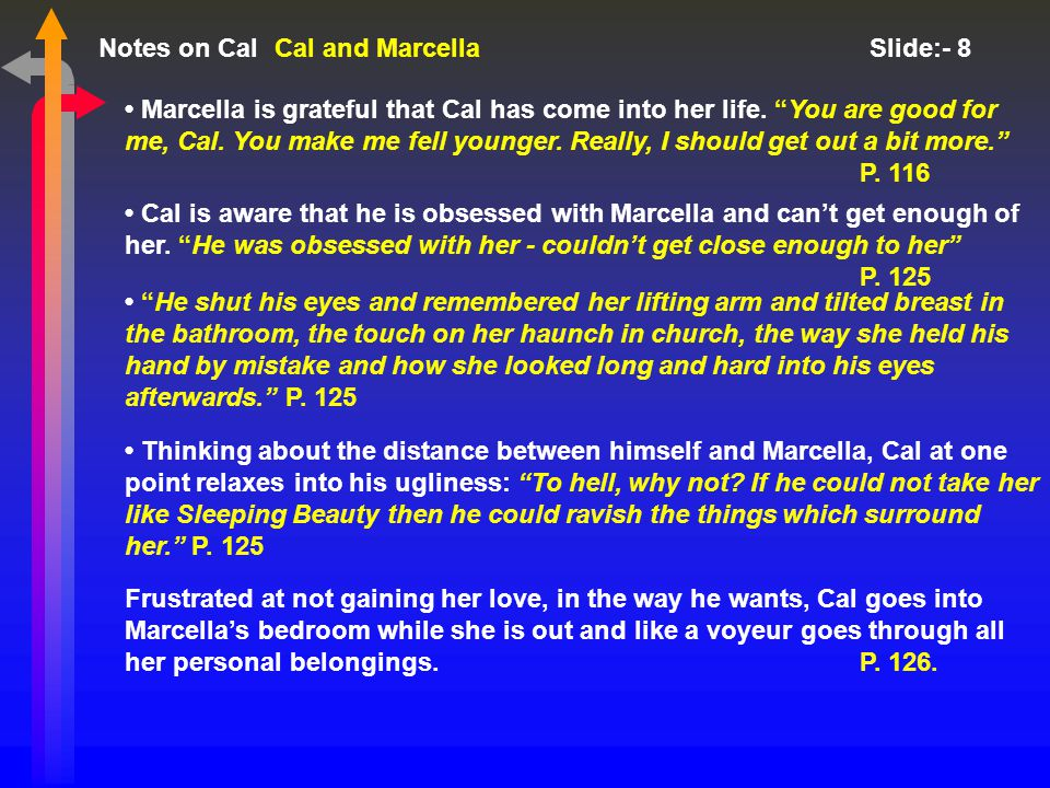 Notes on Cal Slide:- 9 Cal and Marcella During the meal, Cal and Marcella kiss.