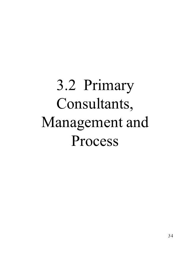 34 3.2 Primary Consultants, Management and Process