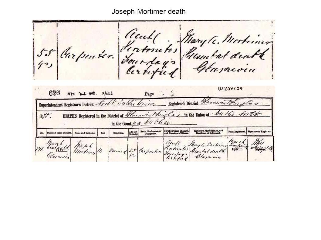 Joseph Mortimer death
