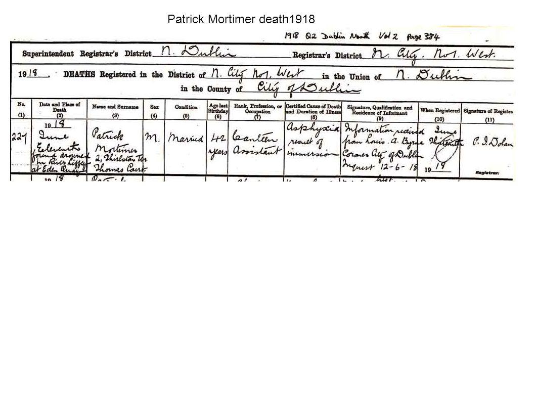 Patrick Mortimer death1918