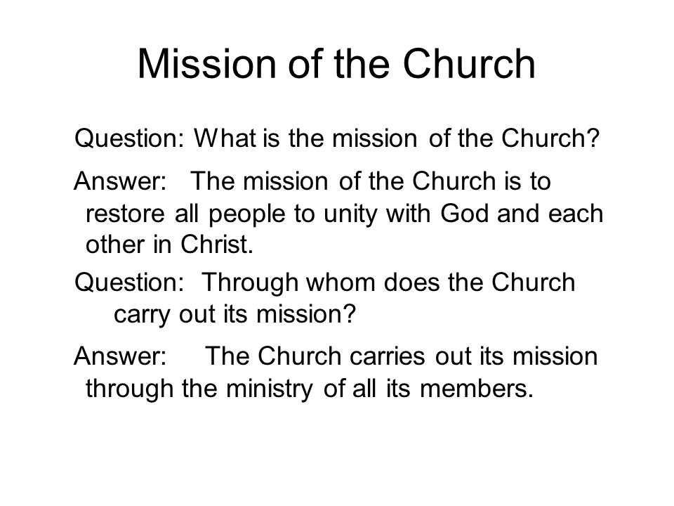 Ministry of all the baptized Question: What is the ministry of the laity.