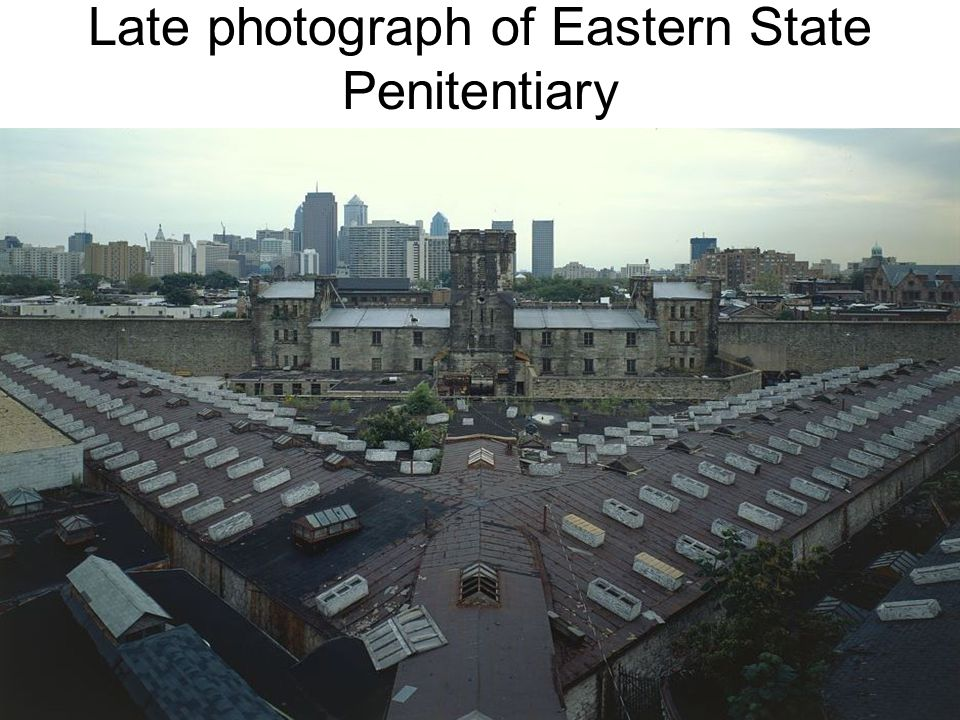 Eastern State Penitentiary The system of 24-hour separation of each prisoner coupled with in- cell feeding, came to be known as the Pennsylvania System or Separate System, and remained the official position of the Pennsylvania Prison Society throughout the 19th century, although the system and its unusual architecture – a central hub and radiating cellblocks – were seldom imitated in other states.