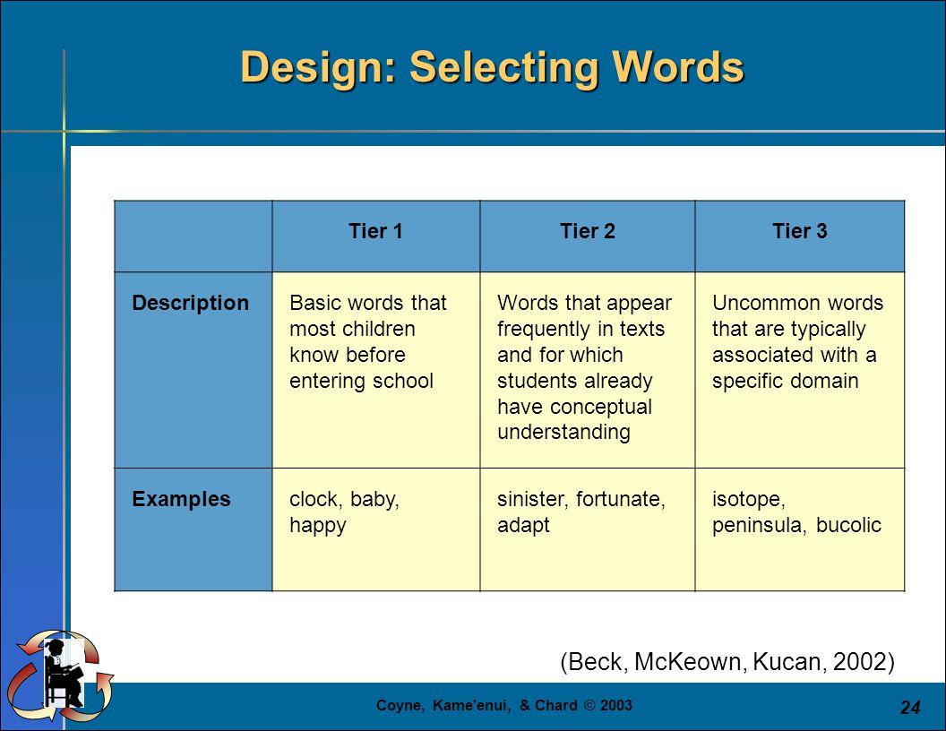 Coyne, Kame'enui, & Chard © 2003 24 Tier 1Tier 2Tier 3 DescriptionBasic words that most children know before entering school Words that appear frequen