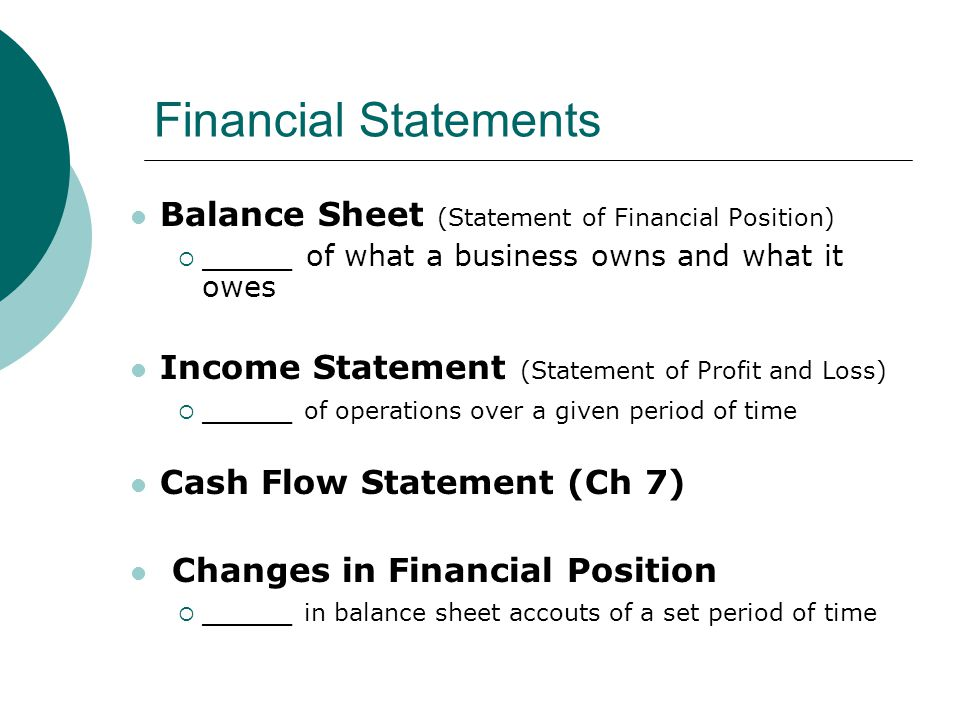 Financial Statements Balance Sheet (Statement of Financial Position)  _____ of what a business owns and what it owes Income Statement (Statement of P