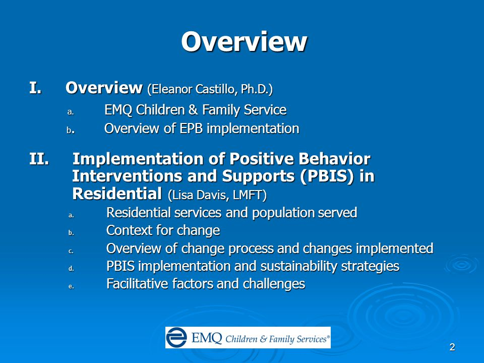 2 Overview I. Overview (Eleanor Castillo, Ph.D.) a.
