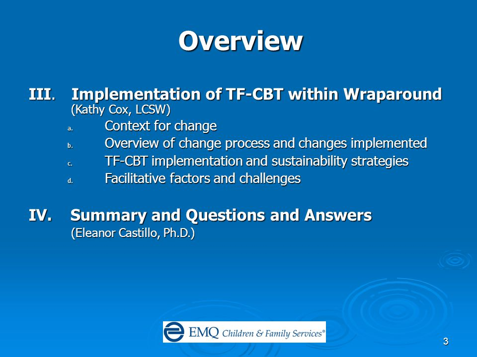 3 Overview III. Implementation of TF-CBT within Wraparound (Kathy Cox, LCSW) a.