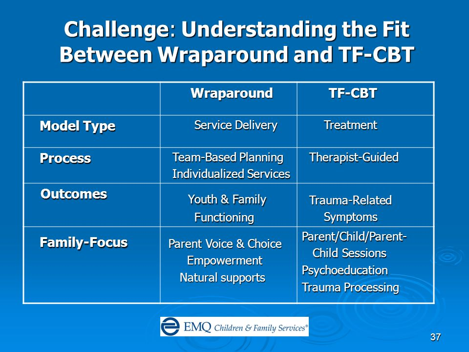 37 Challenge: Understanding the Fit Between Wraparound and TF-CBT Wraparound Wraparound TF-CBT TF-CBT Model Type Model Type Service Delivery Service Delivery Treatment Treatment Process Process Team-Based Planning Team-Based Planning Individualized Services Individualized Services Therapist-Guided Therapist-Guided Outcomes Outcomes Youth & Family Youth & Family Functioning Functioning Trauma-Related Trauma-Related Symptoms Symptoms Family-Focus Family-Focus Parent Voice & Choice Parent Voice & Choice Empowerment Empowerment Natural supports Natural supports Parent/Child/Parent- Child Sessions Child SessionsPsychoeducation Trauma Processing