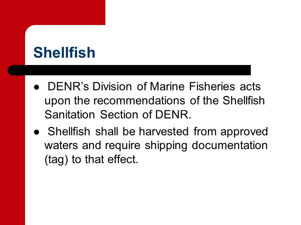 Shellfish DENR's Division of Marine Fisheries acts upon the recommendations of the Shellfish Sanitation Section of DENR.