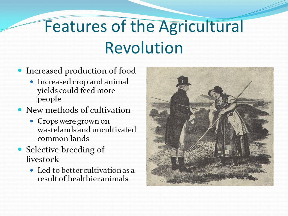 Features of the Agricultural Revolution Increased production of food Increased crop and animal yields could feed more people New methods of cultivatio