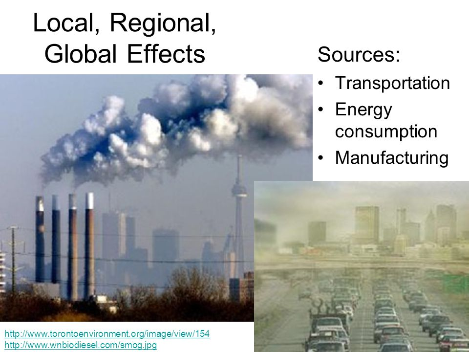 Local, Regional, Global Effects Sources: Transportation Energy consumption Manufacturing http://www.torontoenvironment.org/image/view/154 http://www.wnbiodiesel.com/smog.jpg