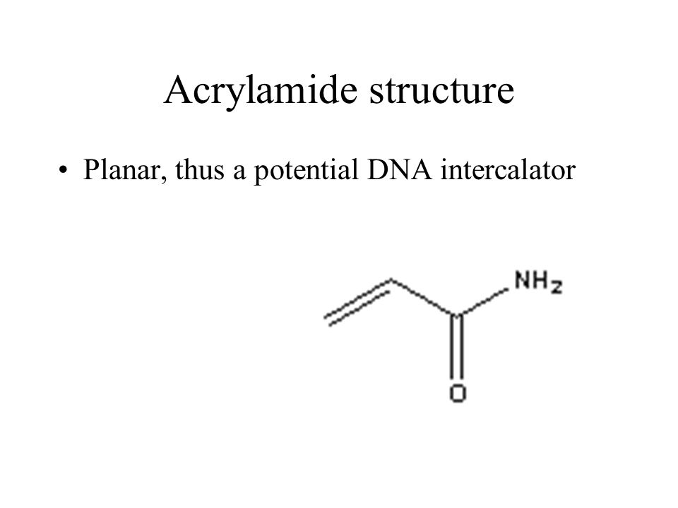 Acrylamide structure Planar, thus a potential DNA intercalator