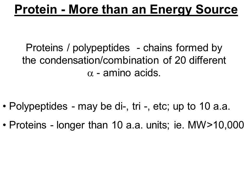 Protein - More than an Energy Source Proteins / polypeptides - chains formed by the condensation/combination of 20 different  - amino acids.