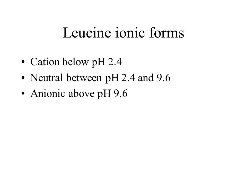 Leucine ionic forms Cation below pH 2.4 Neutral between pH 2.4 and 9.6 Anionic above pH 9.6