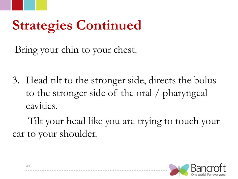Strategies Continued Bring your chin to your chest. 3.Head tilt to the stronger side, directs the bolus to the stronger side of the oral / pharyngeal