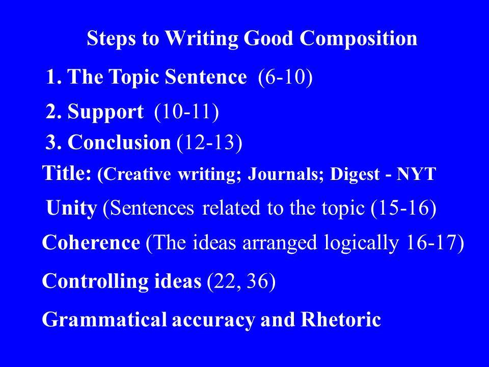 1. The Topic Sentence (6-10) Steps to Writing Good Composition 2.