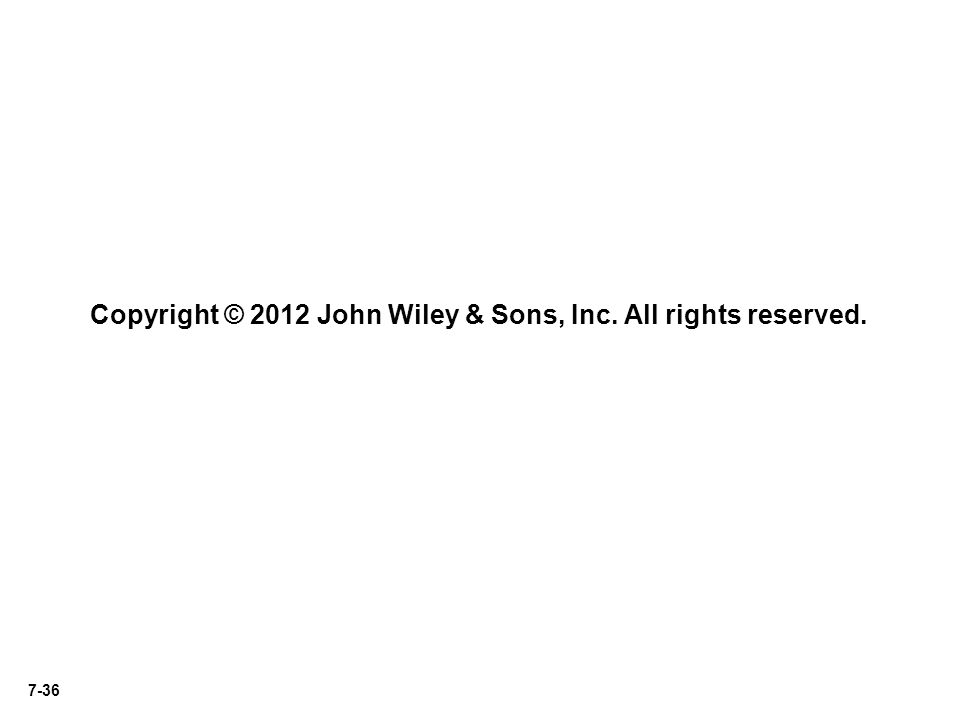 7-36 Copyright © 2012 John Wiley & Sons, Inc. All rights reserved.