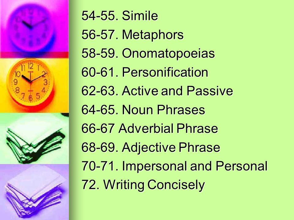 54-55. Simile 56-57. Metaphors 58-59. Onomatopoeias 60-61. Personification 62-63. Active and Passive 64-65. Noun Phrases 66-67 Adverbial Phrase 68-69.