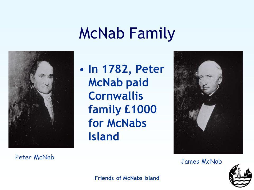 Friends of McNabs Island McNab Family In 1782, Peter McNab paid Cornwallis family £1000 for McNabs Island James McNab Peter McNab