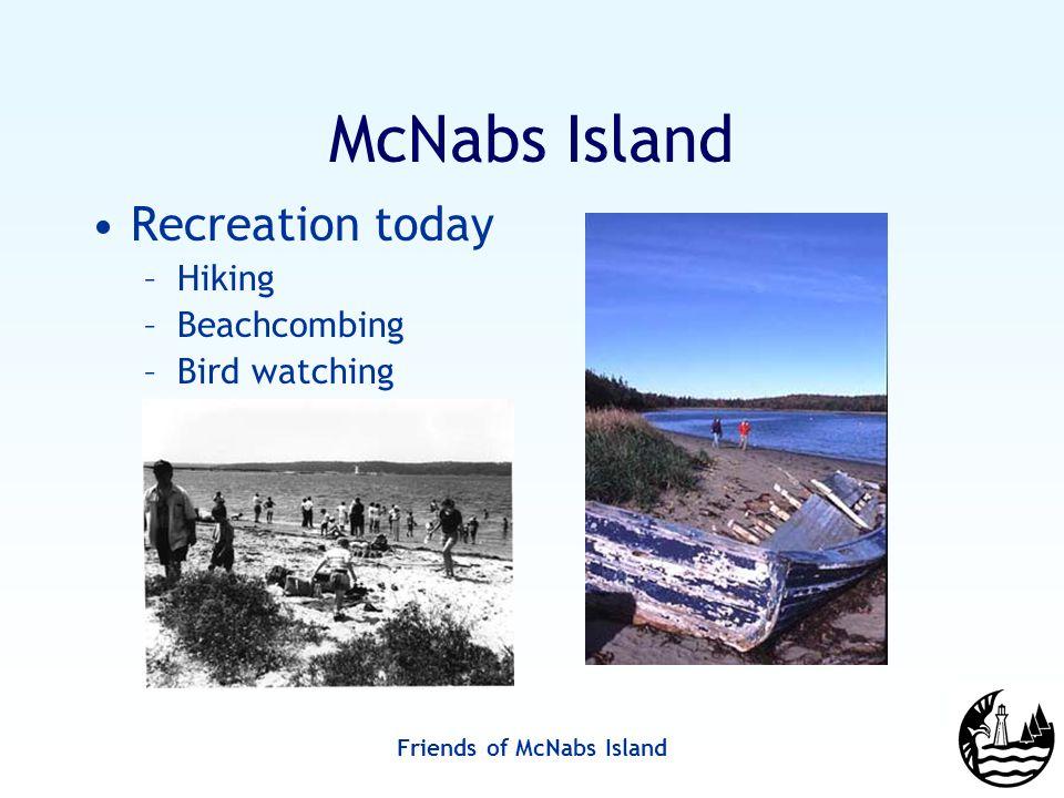Friends of McNabs Island McNabs Island Recreation today –Hiking –Beachcombing –Bird watching