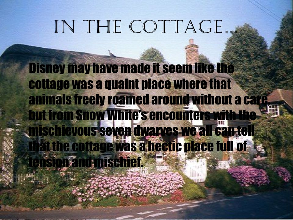 In the cottage… Disney may have made it seem like the cottage was a quaint place where that animals freely roamed around without a care, but from Snow White's encounters with the mischievous seven dwarves we all can tell that the cottage was a hectic place full of tension and mischief.